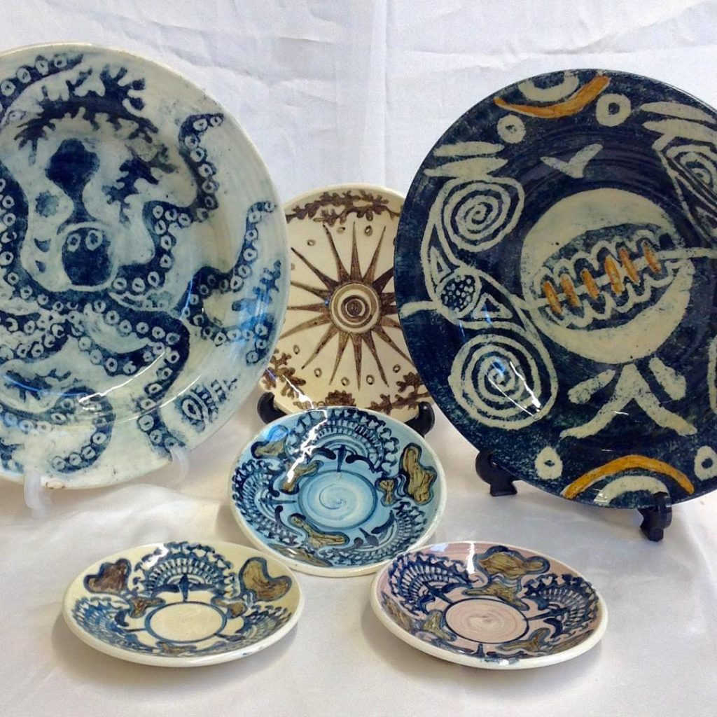 variety of decorated plates